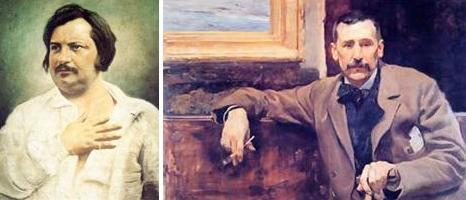 Honoré de Balzac y Benito Pérez Galdós retratados por Louis-Auguste Bisson y Joaquín Sorolla, respectivamente